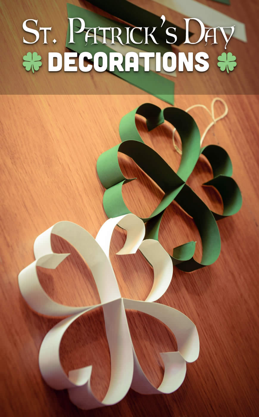 Make your own beautiful hanging shamrock decorations!