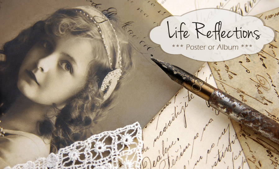 A Life Reflections poster celebrates the life and achievements of a resident; it is a brief and visual biography of their life.