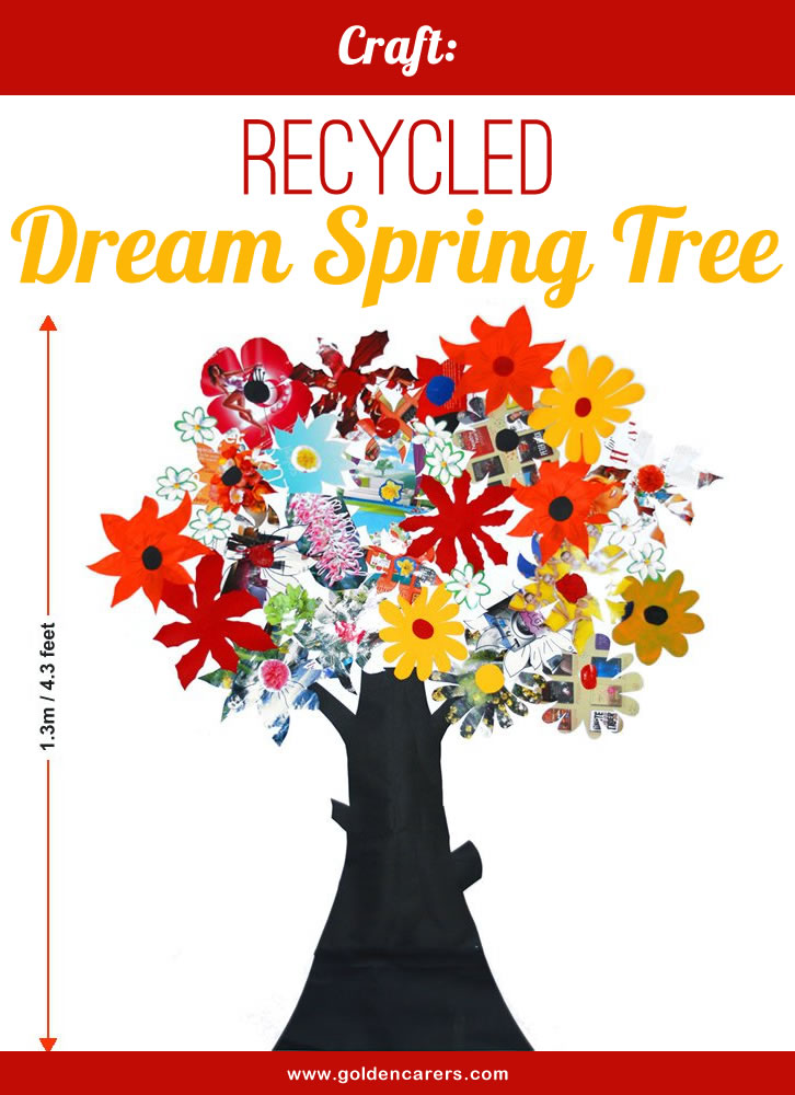 To celebrate spring make a 'dream' tree composed of spring flowers and blossoms. You may also include recycled paper flowers with painted flowers as per the example spring tree above.