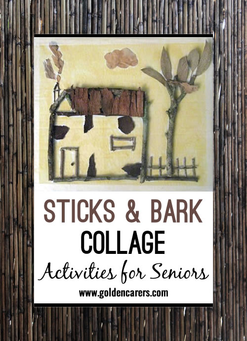 Create beautiful artwork from sticks and bark. A fun and engaging craft activity for seniors!