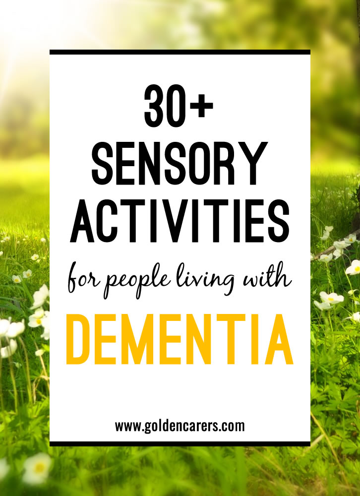 graphic relating to Free Printable Activities for Dementia Patients titled Sensory Stimulation for Dementia Treatment
