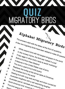 A fun quiz about (mostly) migratory birds. The answers start with the letters at the front of questions.