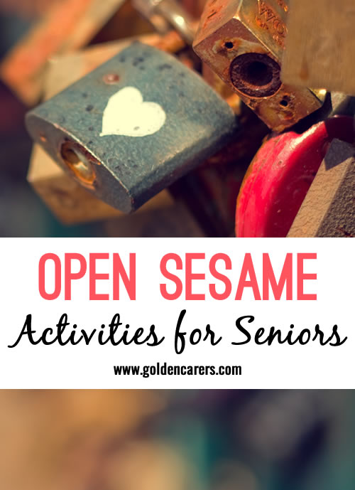 Game for seniors..They need to match the key with the lock...You can provide all keys or padlocks on a tray at one time, and they each get an allotted time to try to unlock the padlocks in a designated amount of time.