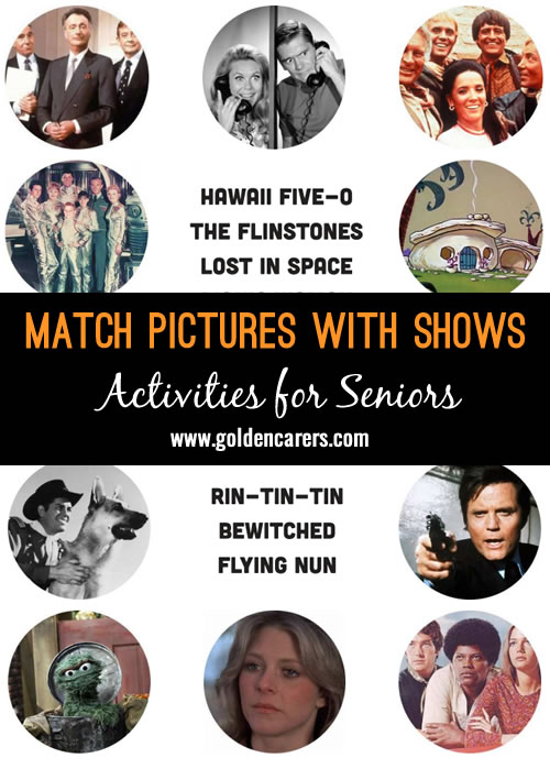 Here's a fun visual reminiscing quiz for seniors - match the images with the tv show or movie they belong to!