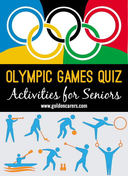 25 questions about the history of the Olympic Games. A fun trivia and reminiscing activity for seniors.