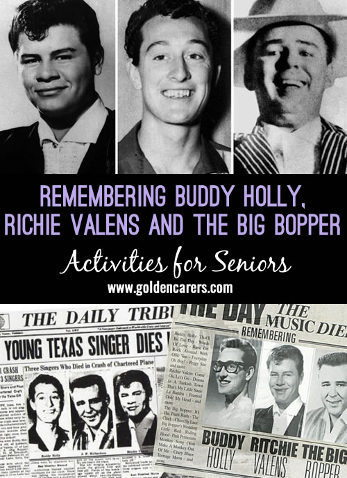 This short story provides a reminiscing and nostalgia activity for seniors. On February 3, 1959 three young rock & roll musicians died in a plane crash in Iowa, USA. The date is often dubbed as 'The day the music died'