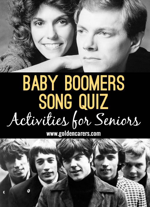 The next installment in our baby boomer song quiz! A lovely reminiscing activity.