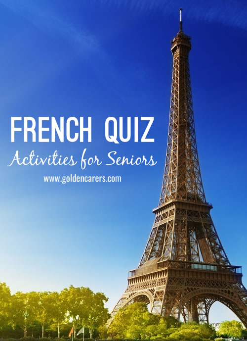 Test your knowledge of French Culture on Bastille Day! Also suitable as a reminiscing activity for seniors from France.