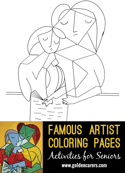Famous Artist  Coloring Pages: Here is an impression of a work of art by Pablo Picasso.