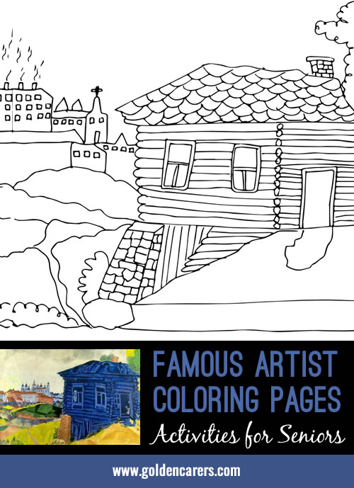 Famous Artist Coloring Pages: Here is an impression of a work of art by Marc Chagall