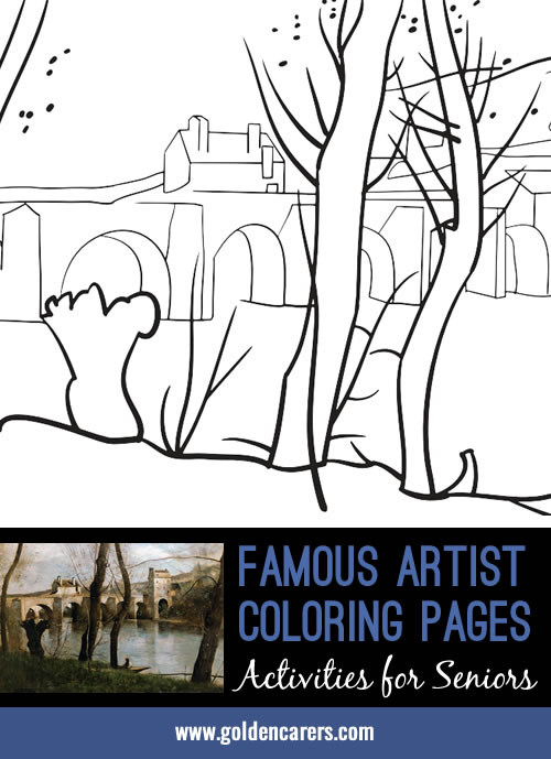 Famous Artist Coloring Pages: Here is an impression of a work of art by Jean Baptiste Camille Corot