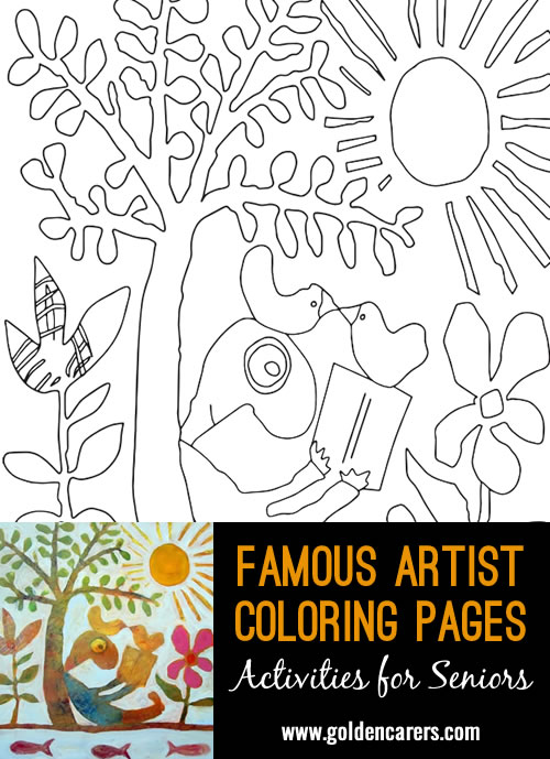 Famous Artist  Coloring Pages: Here is an impression of a work of art by Leunig