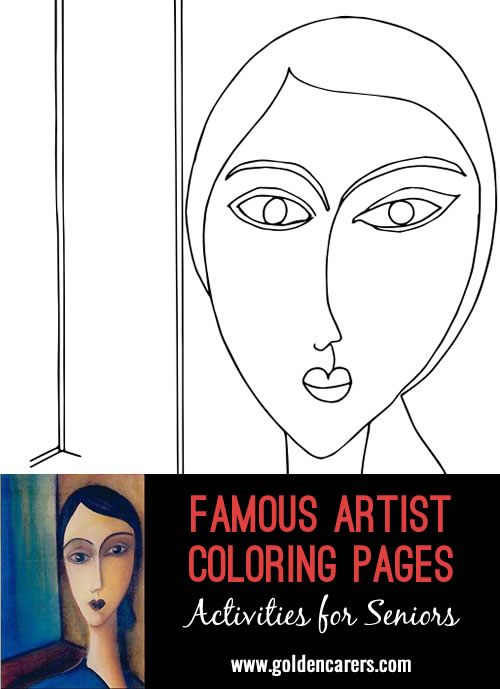 Famous Artist  Coloring Pages: Here is an impression of a work of art by Amedeo Modigliani - Beatrice