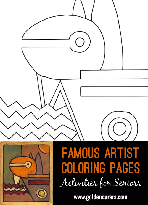 Famous Artist  Coloring Pages: Here is an impression of a work of art by Paul Klee