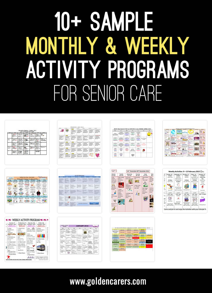 Sample monthly and weekly activity calendars for activity coordinators working in nursing homes. I know from experience that when i first started at a rest home I was thrown in the deep end, and I just thought by sharing this it may help out a newbie to develop their activities program. This is a wonderful resource to help you plan ahead. Thanks to everyone who has shared their calendar.