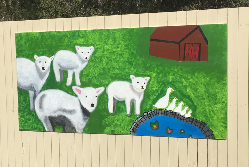 We had a group of art students paint murals for our fence in our Secure unit. This was so beautiful and a great way to get connect within the community.