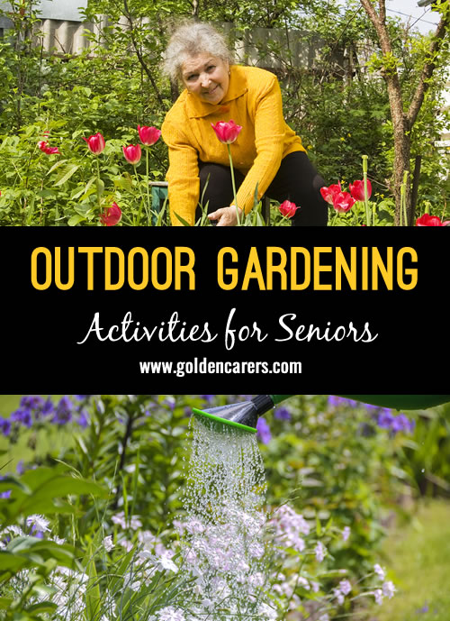 Gardening is a wonderful physical and emotional activity for seniors. It is an opportunity to reminisce about times gone by while reaping the benefits of sunshine, fresh air and gentle exercise