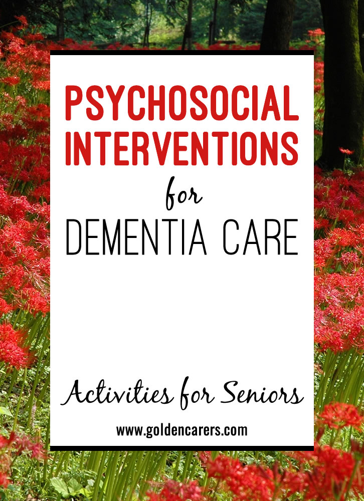 In dementia care, a 'psychosocial intervention' is a broad term used to describe different ways to support people with dementia to overcome challenges and maintain well-being.