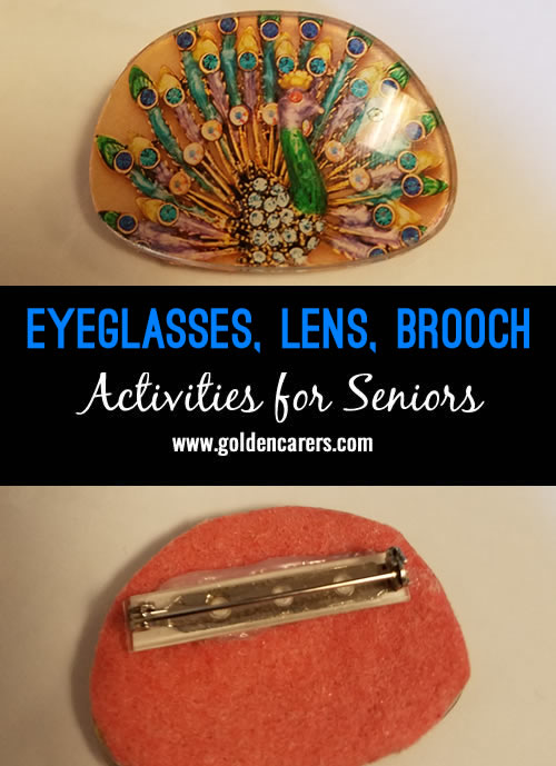 Take old eyeglasses and remove the lenses (you can also buy them at the dollar store). Cut out a favorite picture using the lenses as templates for sizing...