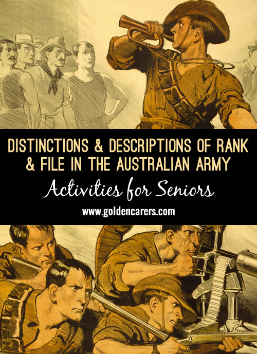 Distinctions & Descriptions of Army Rank and File - Australia