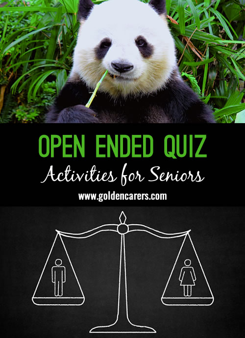 A fun and varied open-ended quiz for seniors!