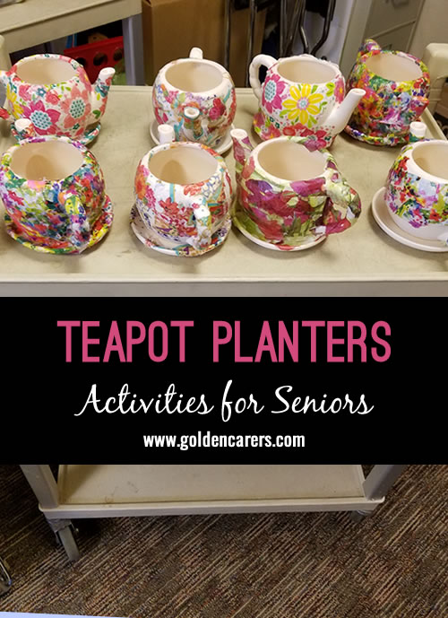 Inexpensive and fun craft!  We will be filling them with soil and herb seeds.  We love Decoupage!