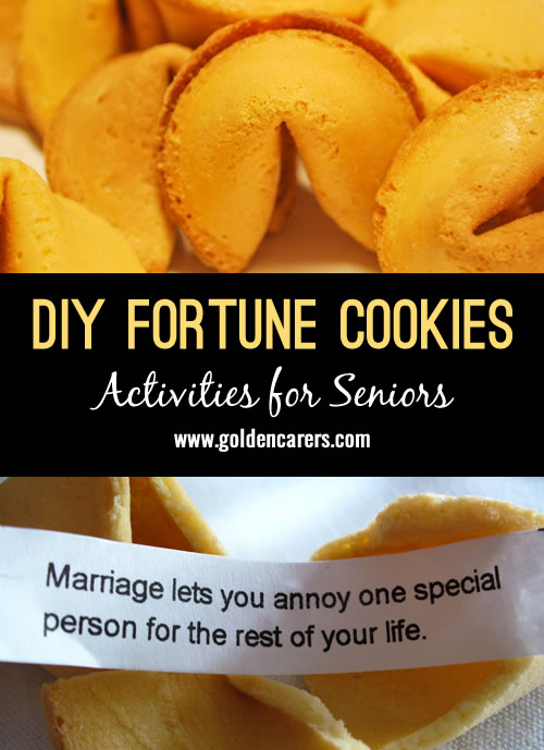 Have the residents write their own fortunes/lucky numbers on small pieces of paper. Then get them to help create the dough for the fortune cookies! These cookies can be used for dessert at dinner or as a snack. Either way, the residents will enjoy creating the cookies and sharing their words of wisdom with the rest of the community.