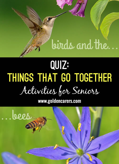 Another brain food to alert the mind. How many can they remember? A fun reminiscing quiz for seniors, suitable for people living with dementia.