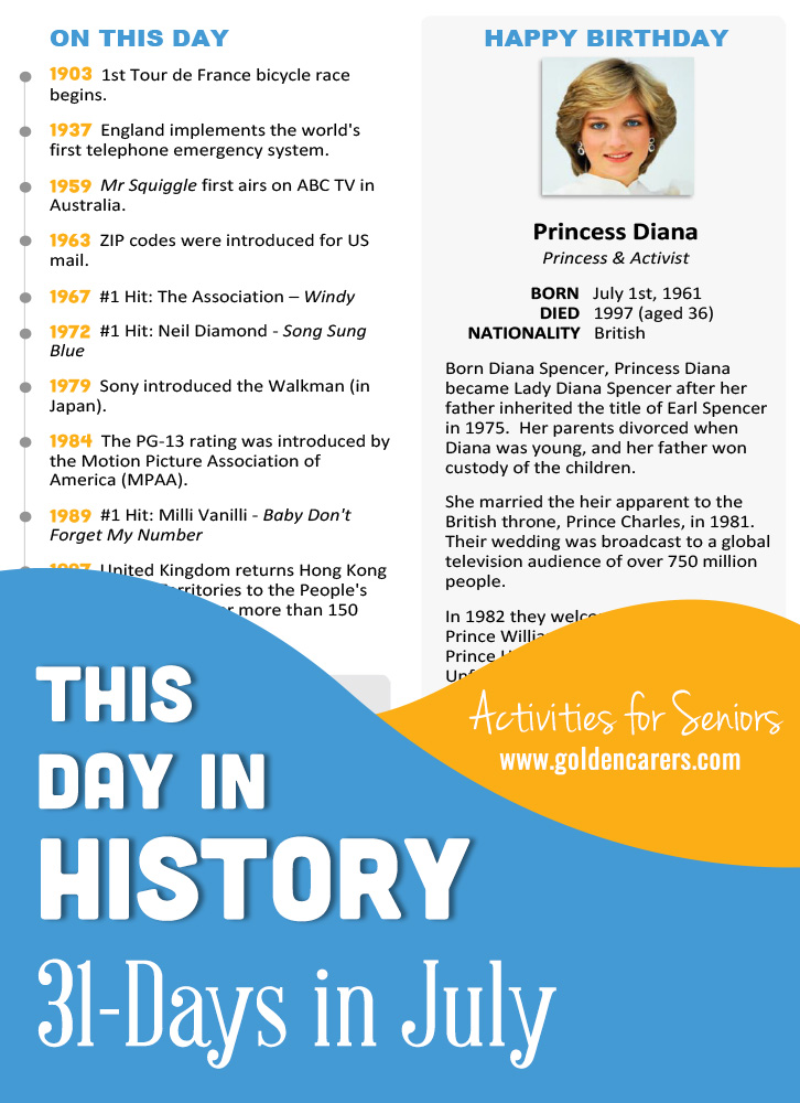 A reminiscing magazine for every day in July! Enjoy the next edition of the popular 'This Day in History' series with historical trivia, jokes, quotes and biographies!