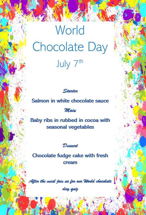 We are going to indulge in a chocolate-themed meal for residents and families.Starter is salmon in white chocolate sauce, main is cocoa rubbed baby rack of ribs and for dessert Chocolate fudge cake.