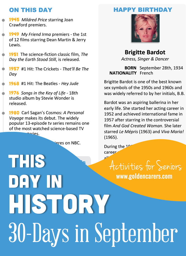 A reminiscing magazine for every day in September! Enjoy the next edition of the popular 'This Day in History' series with historical trivia, jokes, quotes and biographies!
