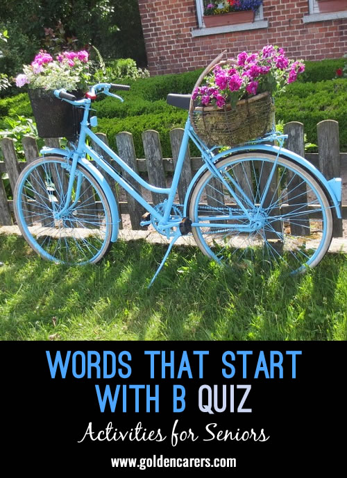 The answers to this quiz all start with the letter B!