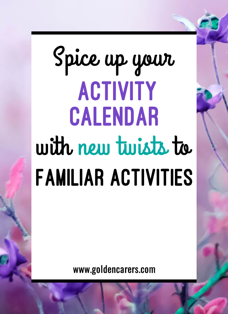 I've worked in activities for over ten years, and I have found that there are some activities that you just have to have on the activities calendar! While these activities may be staples, they can easily lose their charm for both you and the residents when done over a long period of time.