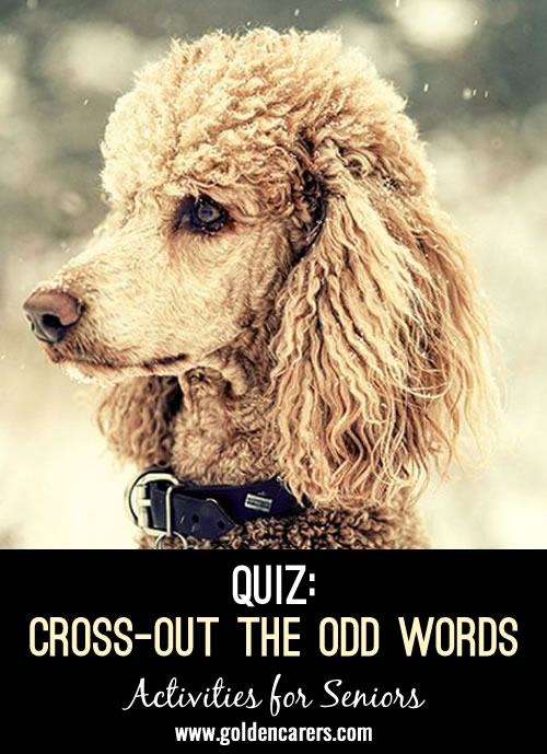 Cross-out the odd word and then add one more! Some of these are tricky! This is a fun and stimulating quiz for seniors.