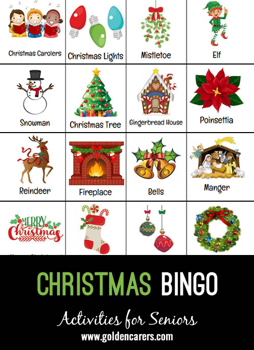 Christmas themed picture bingo! Calling cards start on page 17.