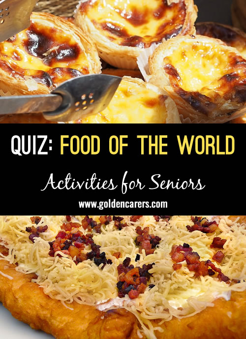 Link the food to its country of origin! A lovely food-themed quiz that will lead to reminiscing and discussion!
