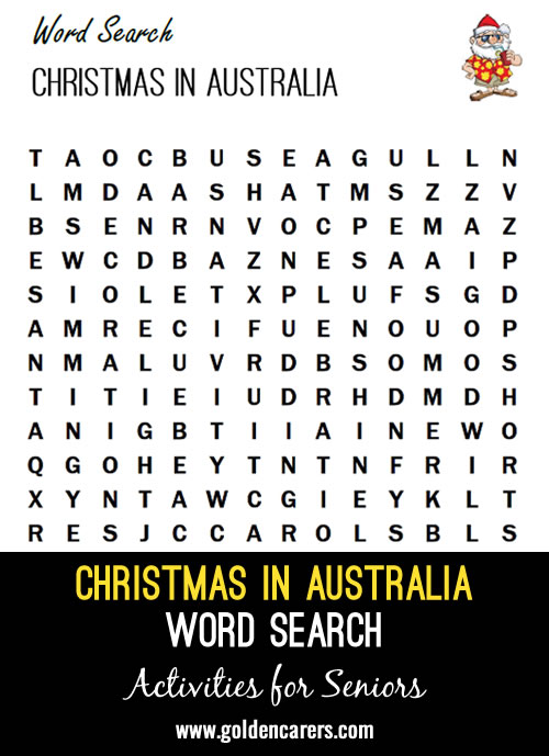 A Summer themed Christmas word search