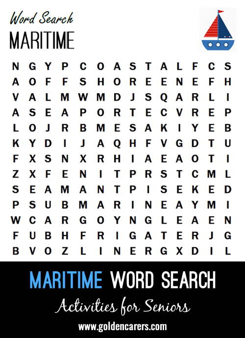 A maritime themed word search to enjoy.