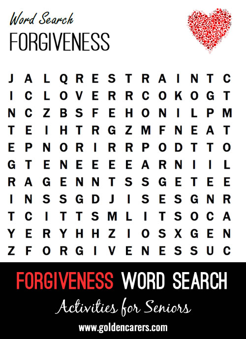 A love and forgiveness themed word finder!