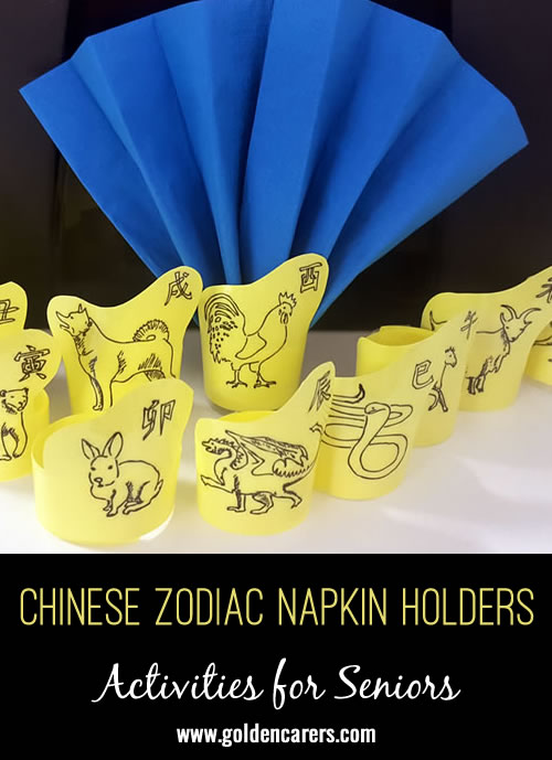 Napkin holders with the animals of the Chinese Zodiac.