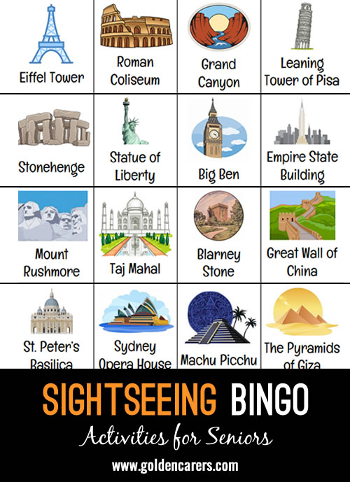 A 'Sightseeing' themed bingo!