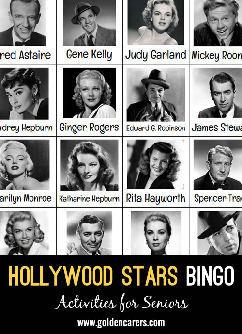 A beautiful Hollywood Stars themed bingo!