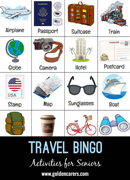 A 'Travel' themed bingo game!