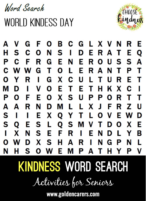 Here is a word search for World Kindness Day!