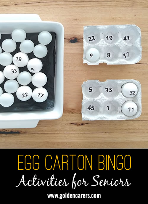 Egg Bingo is made with egg cartons and table tennis balls. I borrowed the idea from a kids website and modified it. It worked so well that our clients commented how clever the idea was!