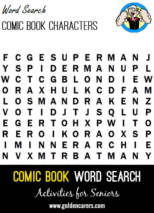 A fun word search with featuring famous comic book characters!