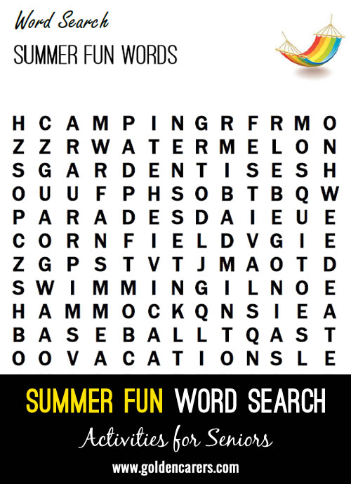 Here is a word Search using summertime words!