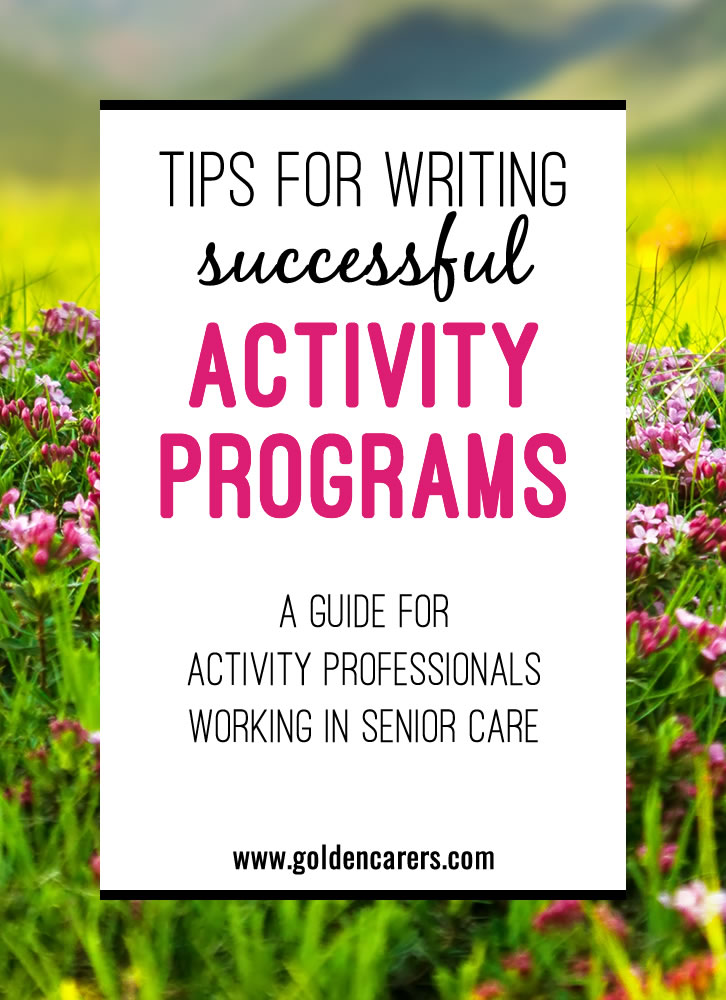 Designing activity programs for residents in nursing homes and long term care requires creative thinking and enthusiasm. Your main point of reference will be the assessment of your clients.