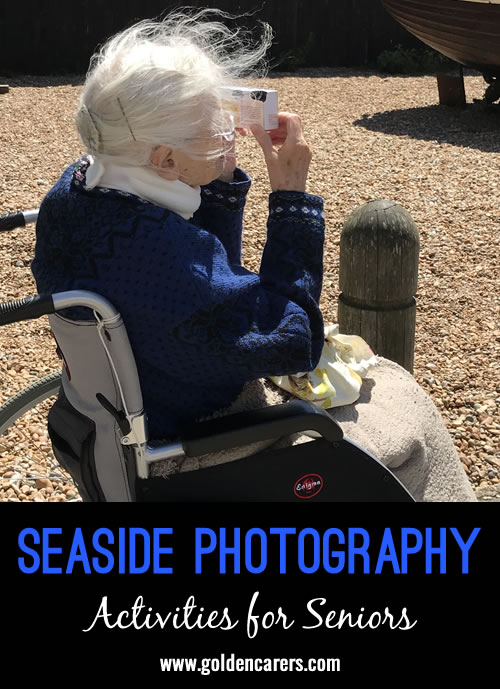 We took a small group of residents living with Dementia to the seaside and gave them disposable cameras and asked them to take pictures of things that make the seaside special. We got them developed and we often look at them and discuss the day out.