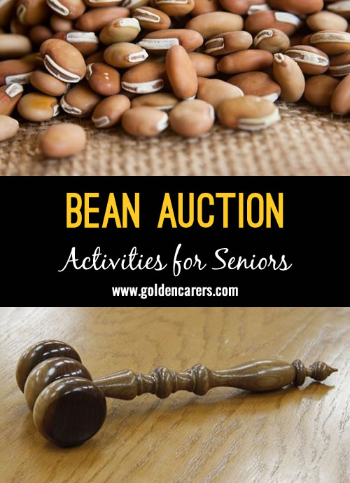 Each resident gets a bag of 40 beans to bid on the items they want. The items up for bid can come from the dollar store, or staff can donate items.Our residents love this activity!